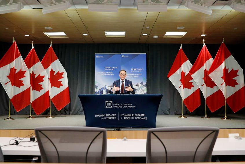 Bank of Canada governor Tiff Macklem takes part in a news conference in Ottawa.
