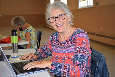 Bernadette Shea types away on her Chromebook, during the final day of the digital literacy course at the Stewiacke Community Centre.