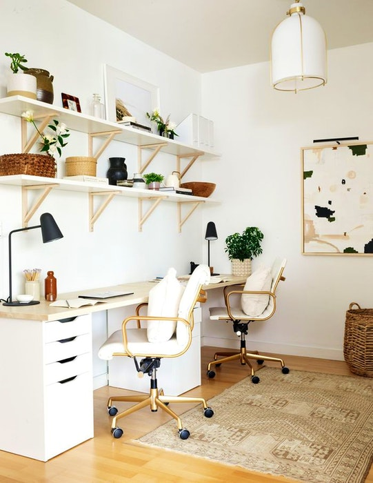 Home office shelving designed by Tiffany Leigh, of Tiffany Leigh Design.  - PATRICK BILLER