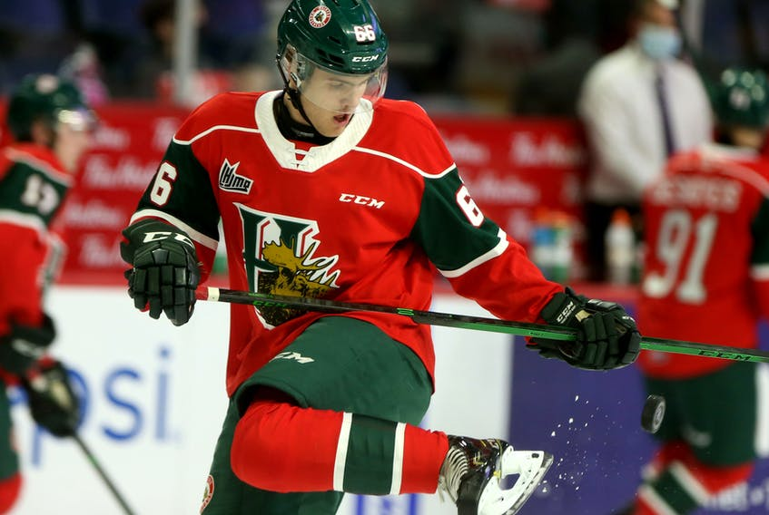 Halifax Mooseheads winger Zachary L'Heureux is seen during warmup before an Oct. 29, 2020 QMJHL game against the Moncton Wildcats at the Scotiabank Centre. - Tim Krochak