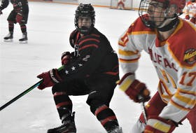 New Glasgow's Reese Smith, pictured in game action for the U-18 Weeks versus Halifax last season, was the Crushers' final selection of the 2021 MHL entry draft.