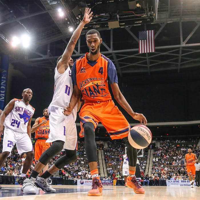 One of the most successful ABA franchises, on and off the court, is that of the five-time defending champion Jacksonville Giants, shown in this file photo in a game against the Texas Sky Riders. — jacksonvillegiants.com/Gary Lloyd McCullough