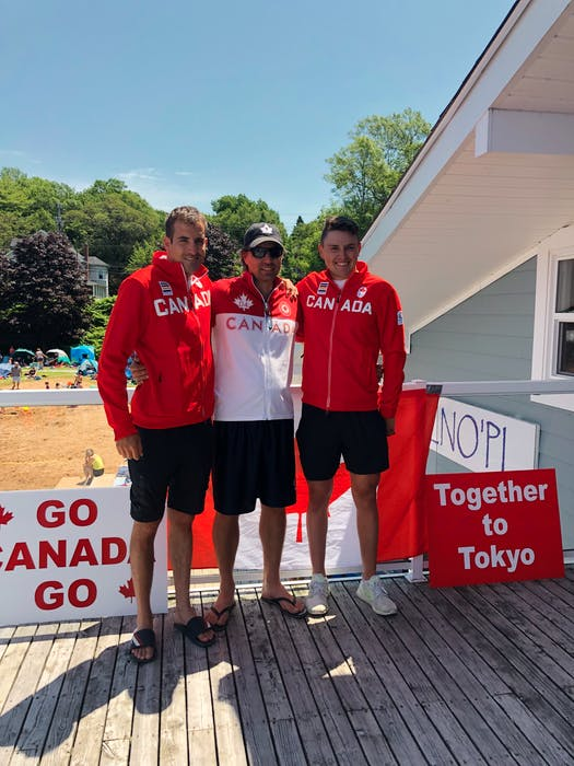 Canadian paddling great Steve Giles, middle, presented Olympians Connor Fitzpatrick, right, and Roland Varga, left, with their Team Canada jackets. - Contributed