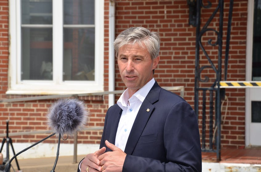 Tim Houston, leader of the Progressive Conservative party, makes a announcement about improving workers' wages at the Oland Brewery in north-end Halifax on Monday, July 12. - Francis Campbell