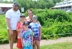 Travis Turple and Sarah Day, back row, are enjoying a week of holiday camping in Cavendish with their family, Benjamin Turple, front, and middle row, Bradyn Day and Leah Day, right. The Nova Scotia family said it is positive news that P.E.I. will begin welcoming visitors from across the country on July 18.