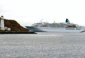 The cruise ship Amadea passes Georges Island in 2015. (RYAN TAPLIN/Staff)