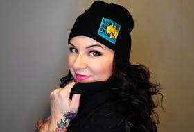 Lee-Anne Richardson sports the toque being sold on sobercity.ca — Contributed photo