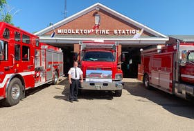 Middleton Fire Department Chief Mike Toole, shown with some of the department's modern equipment in front of the town's 71-year-old fire hall, says the firefighting force has outgrown the space.