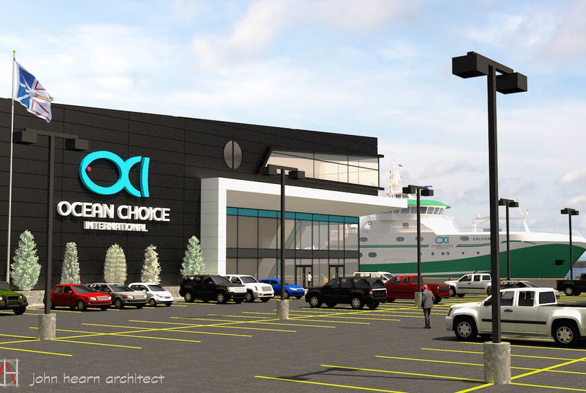 This architectural concept drawing shows the cold storage facility OCI hopes to build at Long Pond Harbour in Conception Bay South, N.L.