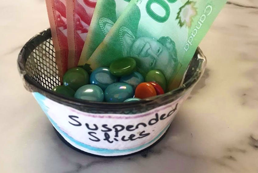 After hearing how Summerside resident Lyle Stewart bought $100 worth of suspended slices at Dino's Pizza, two other Canadians were inspired to follow suit. The combined $140 that was mailed is enough to buy 35 slices of pizza.