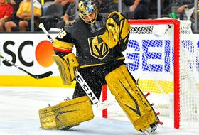 Former Cape Breton Screaming Eagle goaltender Marc-Andre Fleury has one year remaining on his contract with the Vegas Golden Knights. Contributed • Stephen R. Sylvanie, USA TODAY Sports