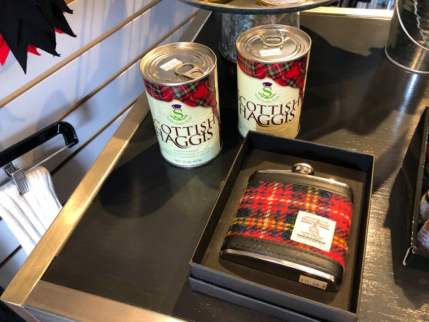 Since opening on June 22, Lloy said customers have been coming into Red Label Kilts excited to see products they had gotten in Scotland like haggis, Irn Bru drink and Ness Scotland handbags. NICOLE SULLIVAN • CAPE BRETON POST