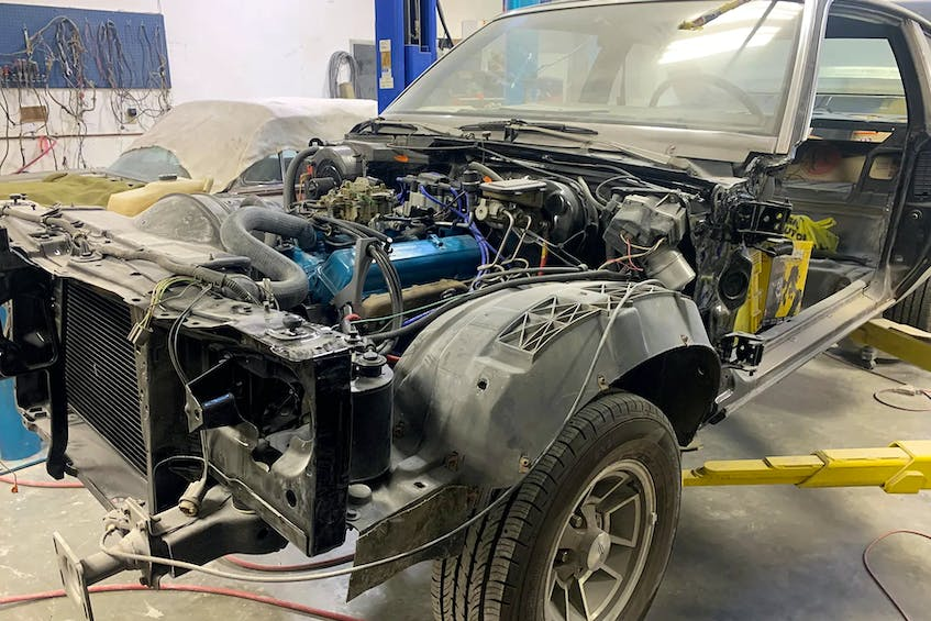 The 1978 Oldsmobile 442 was completely dismantled for restoration. Contributed photo
