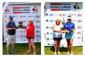 Golf Newfoundland and Labrador president Janine Fraser presents championship trophies to (from left) Jason Stagg (men's amateur) and Taylor Cormier (women's amateur) at the conclusion of the 2021 Royal LePage provincial amateur golf championships held at the Twin Rivers course at Terra Nova Resort in Port Blandford. — Contributed/Golf NL