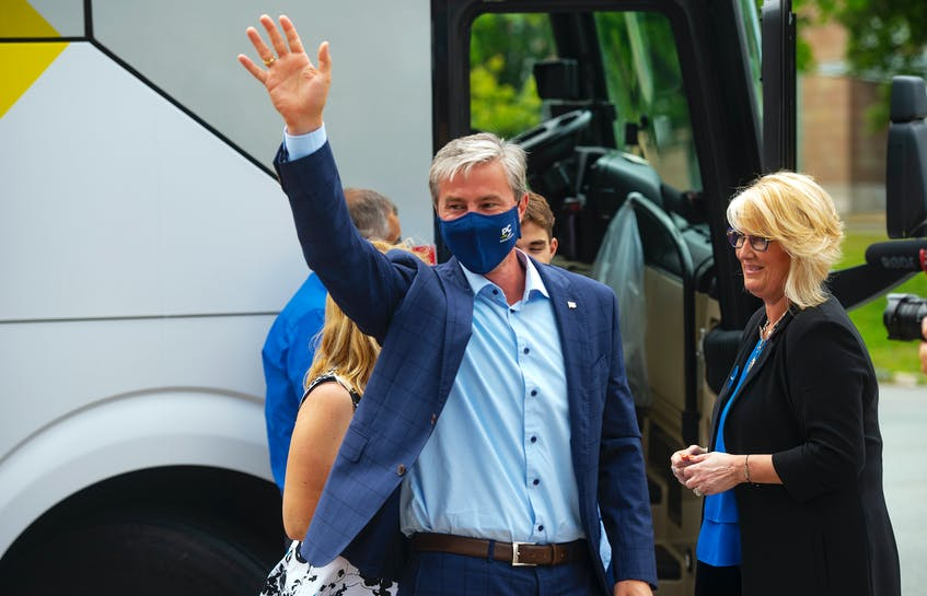 Progressive Conservative leader TIm Houston waves to supporters after getting off his campaign bus for a rally in Dalhousie on Saturday, July 17, 2021. - Ryan Taplin