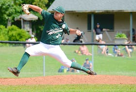 Charlottetown Gaudet's Auto Body Islanders lefty J.P. Stevenson throws a pitch during Game 1 of a New Brunswick Senior Baseball League doubleheader with the Saint John Alpines July 17 at Memorial Field.