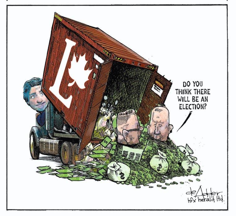 Michael de Adder's cartoon for July 20, 2021. - Michael de Adder