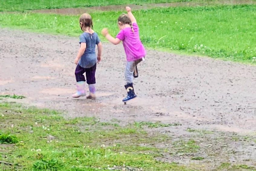 Did you ever dance in the rain? Thea and Elena Ingraham were spotted doing just that one-day last month in their yard in Cheticamp, N.S. Mom, Ashely, was close by admiring the girls' unbridled joy. Chance of giggles – 100 per cent.
