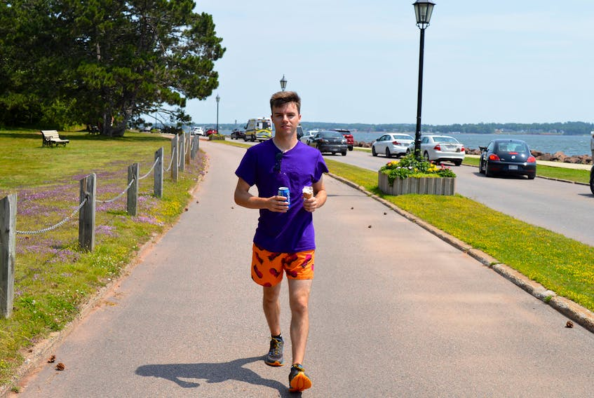 Jonah MacMillan of Clyde River enjoys a walk on the active transportation path that circles Victoria Park in Charlottetown on July 16.