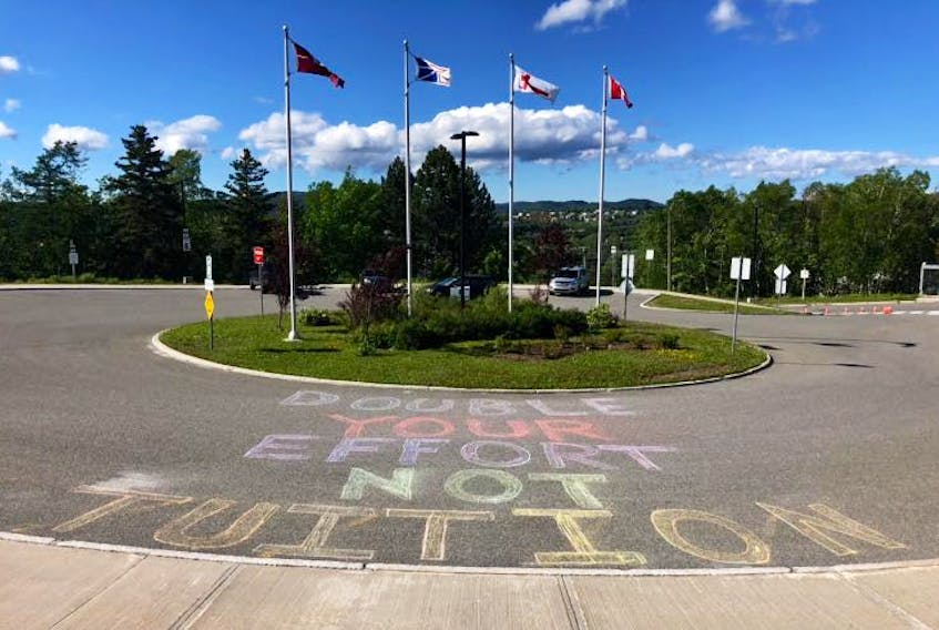 The Grenfell Campus Student Union recently left this chalk message outside of the university in Corner Brook.