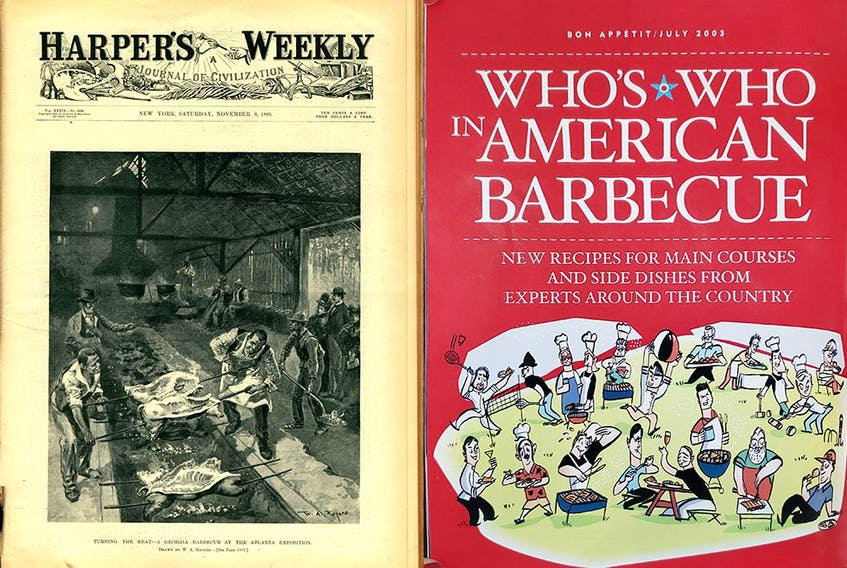 """African American barbecuers in action, Harper's Weekly, Nov. 9, 1895, left, and """"Who's Who in American Barbecue,"""" Bon Appetit, July 2003."""