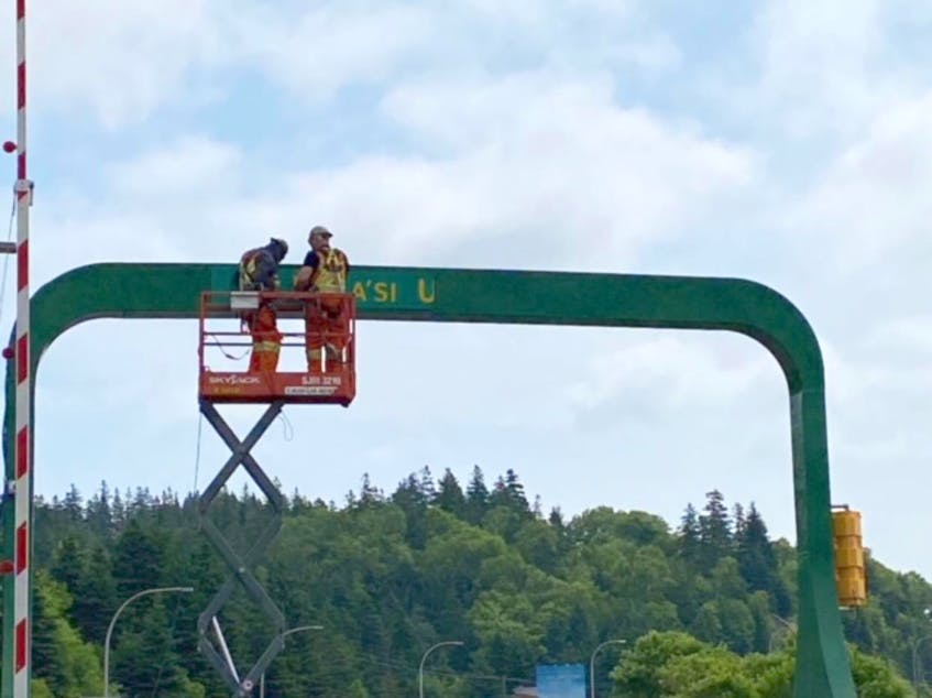 The new welcome sign to Cape Breton in the Mi'kmaw language, which reads, 'Pjila'si Unama'kik', was installed on the Canso causeway bridge a week ago, just days after it was first announced by Premier Iain Rankin. CONTRIBUTED