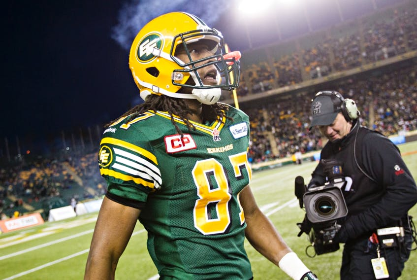 Edmonton's Derel Walker comes off the field during the Canadian Football League West Division final against the Calgary Stampeders at Commonwealth Stadium on Nov. 22, 2015.