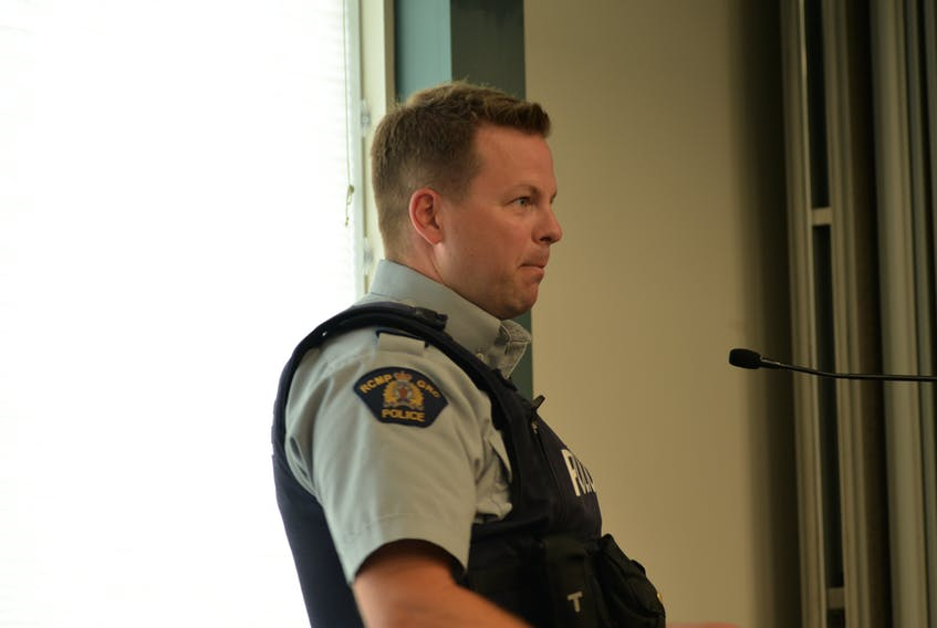 Cpl. Mike Lutley of the RCMP presented the monthly police report at the July 14 Stratford Town Council meeting.