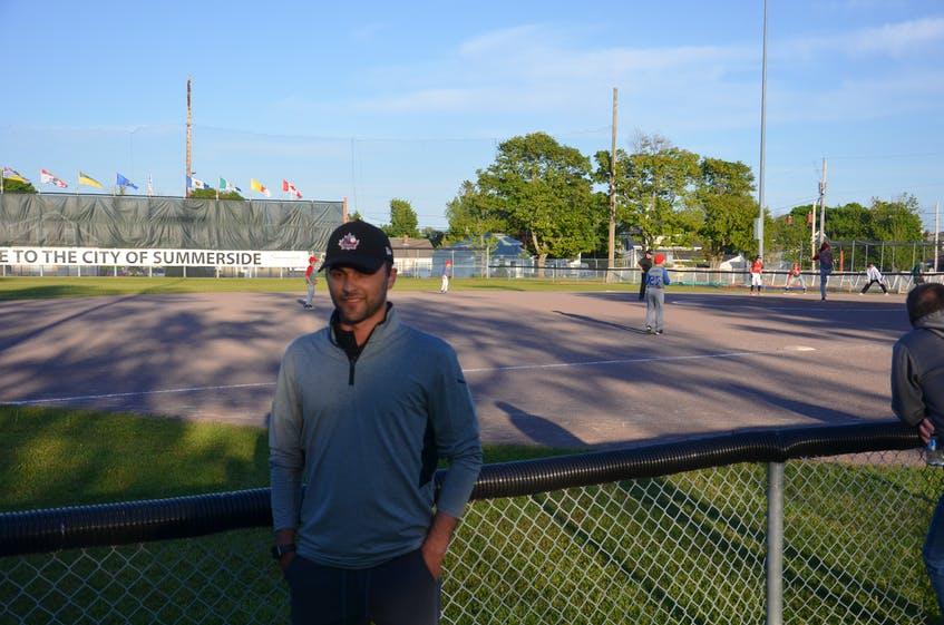 Summerside Area Baseball Association (SABA) president Tanner Doiron stands along the third-base line of the Very Important Volunteer Field at Queen Elizabeth Park. SABA is celebrating its 40th anniversary during the 2021 season.