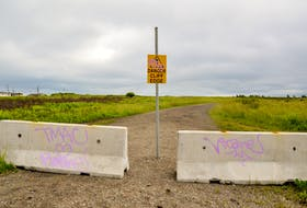 Since Taylin Kavanaugh's accident in July 2020, a warning sign and cement barriers preventing cars from driving to the cliffside have been put up at Swivel Point in Sydney Mines. JESSICA SMITH/CAPE BRETON POST