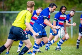Members of the Caledonia RFC rugby team — Sandy Warren, Warren O'Neill, Braiden Sullivan, Matt Fequet and Wayne Jenkins — during game action in 2019. The team will return to the field today for their first game in over a year. Contributed • Jennie Fougere