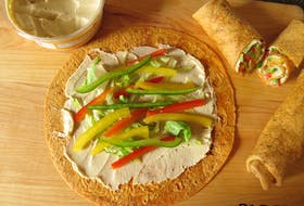 This sweet pepper wrap with hummus is a tasty sandwich choice to serve this summer.