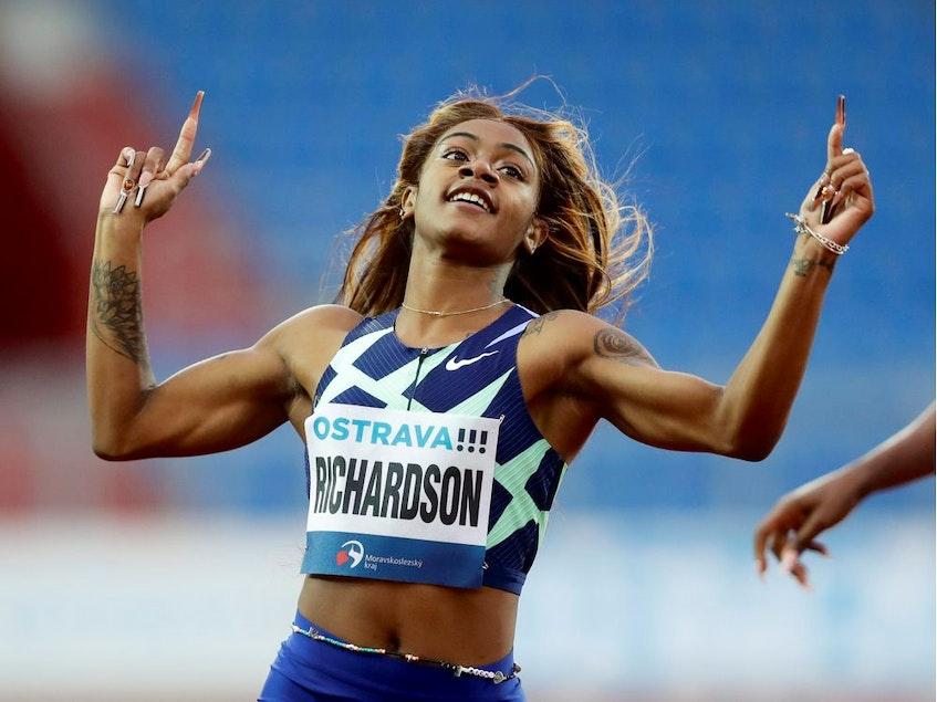 Sha'Carri Richardson of the U.S. on her way to winning the women's 200 metres at the Municipal Stadium in Ostrava, Czech Republic, on May 19. - DAVID W CERNY