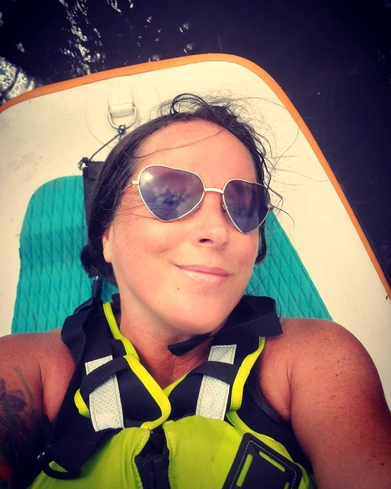Wolfville, N.S., resident Angie Oriana Jenkins first's introduction to stand-up paddle boarding was through a yoga on paddle boards workshop and fell in love with it. — Contributed