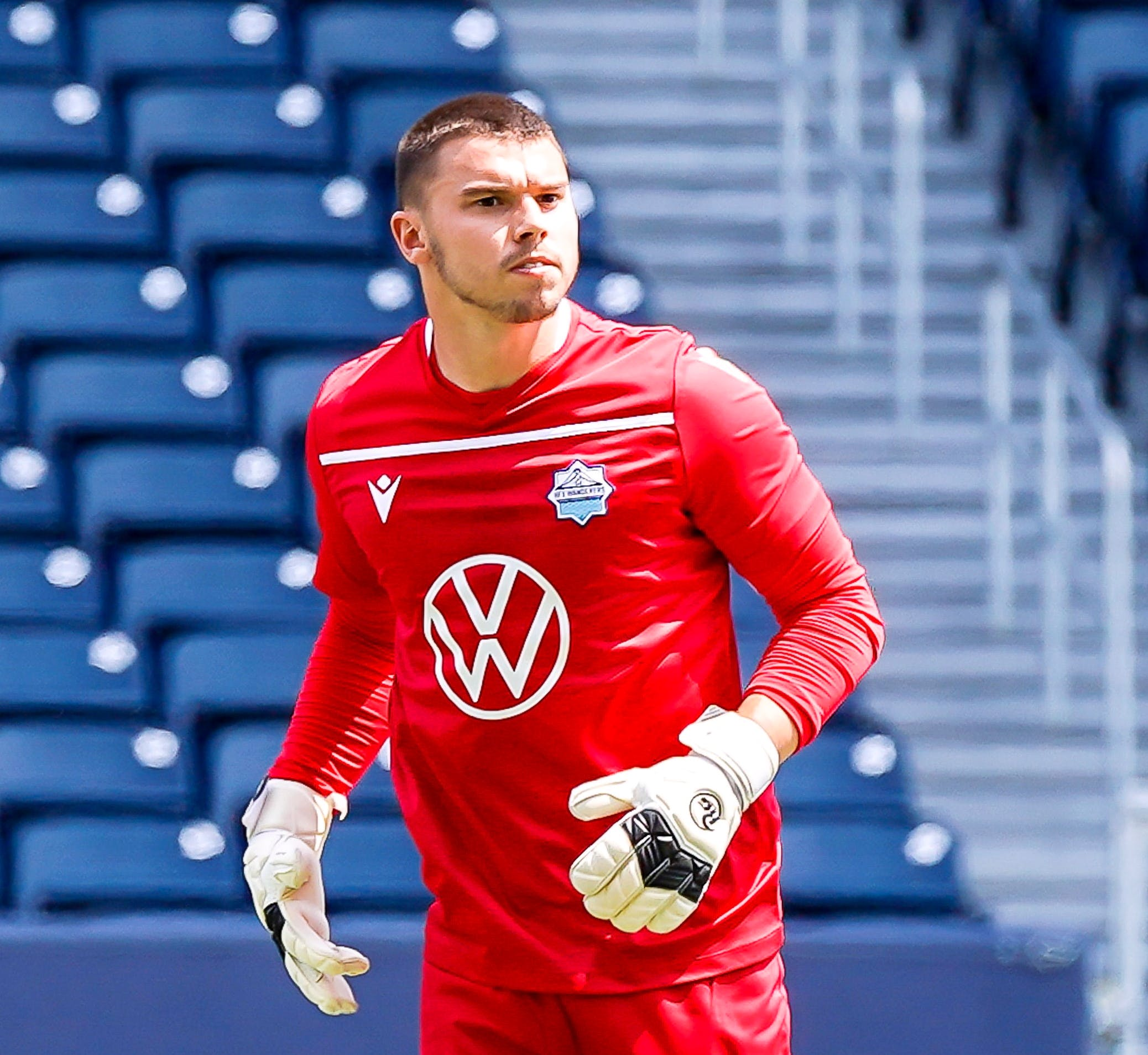 HFX Wanderers keeper Christian Oxner gets ready to put the ball in play during a Canadian Premier League match against FC Edmonton on July 10 in Winnipeg. - CANADIAN PREMIER LEAGUE