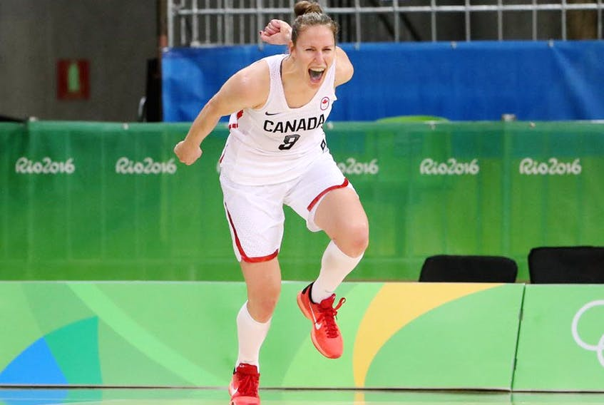 Kim Gaucher #8 of Canada reacts after scoring against Serbia during the women's basketball game on Day 3 of the Rio 2016 Olympic Games at the Youth Arena on August 8, 2016 in Rio de Janeiro, Brazil.