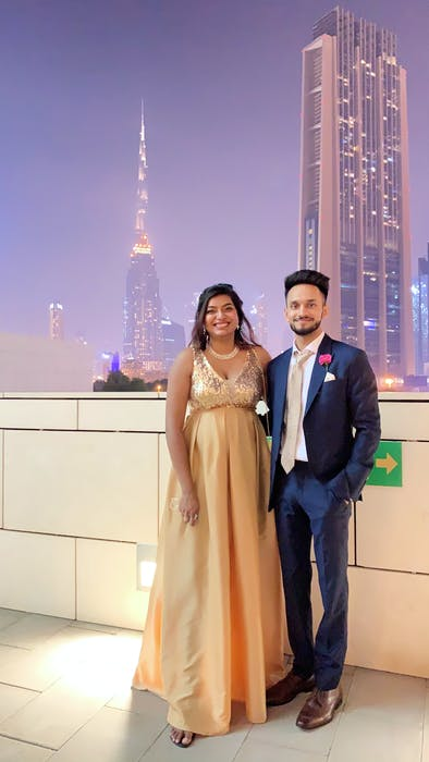 St. John's resident Sophia Solomon and her fiancé, Glen Paul, are pictured during their engagement dinner at Carnival Restaurant in Dubai. Solomon said a long-distance relationship is challenging but both she and her fiancé have found ways to stay in touch, often through social media.