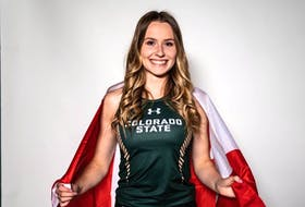 Lauren Gale wears the Canadian flag on her back. At age 21, she will be the youngest member of the country's track and field team competing at the Tokyo Olympics next month. PHOTO CONTRIBUTED/COLORADO STATE UNIVERSITY