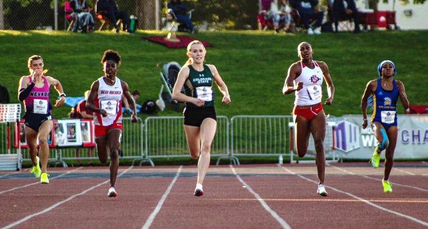 Lauren Gale, middle, is shown participating in a race for Colorado State University. The 21-year-old has deep Cape Breton roots and will represent Canada at the Tokyo Olympics next month. PHOTO CONTRIBUTED/COLORADO STATE UNIVERSITY