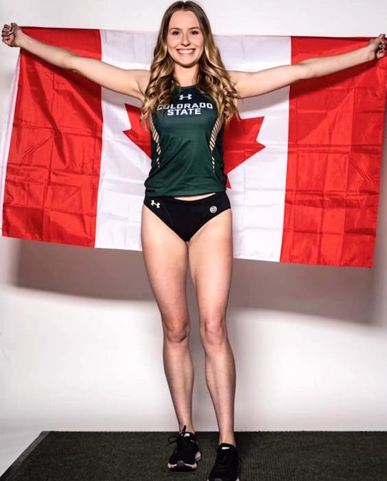 Lauren Gale proudly holds the Canadian flag over here back. The 21-year-old, who has deep Cape Breton roots through her parents and grandparents, will represent the country in the 4x400-metre relay race at the Tokyo Olympics, beginning on Aug. 5. PHOTO CONTRIBUTED/COLORADO STATE UNIVERSITY