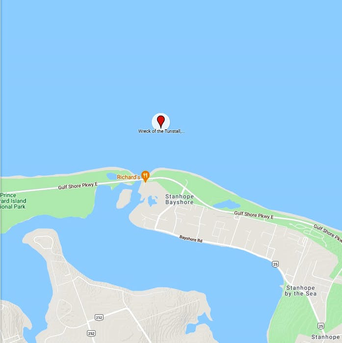 The location of the sunken Tunstall, which is located roughly two miles off of the coast of Covehead, P.E.I.