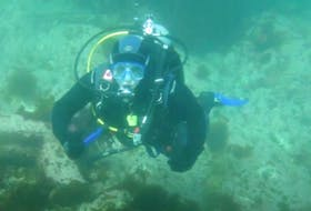 Kelly Campbell, administrator of the P.E.I. Scuba Facebook page, during a dive to the site of the Tunstall. Submitted photo from Kelly Campbell.