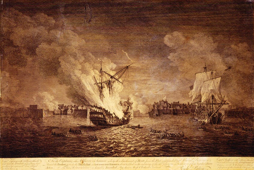 This engraving shows the British burning of the warship Prudent and capturing of the warship Bienfaisant during the siege of Louisbourg. Prudent was one of four giant warships sunk in the siege and their destruction sealed the fate of the fortress. CONTRIBUTED/Maritime Museum of the Atlantic, M55.7.1