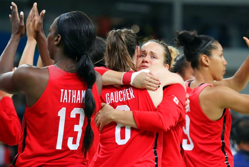 Team Canada show their dejection and their appreciation for the fans after being eliminated by France during women's basketball quarterfinal action at the Rio 2016 Olympics in Rio de Janeiro, August 16, 2016.