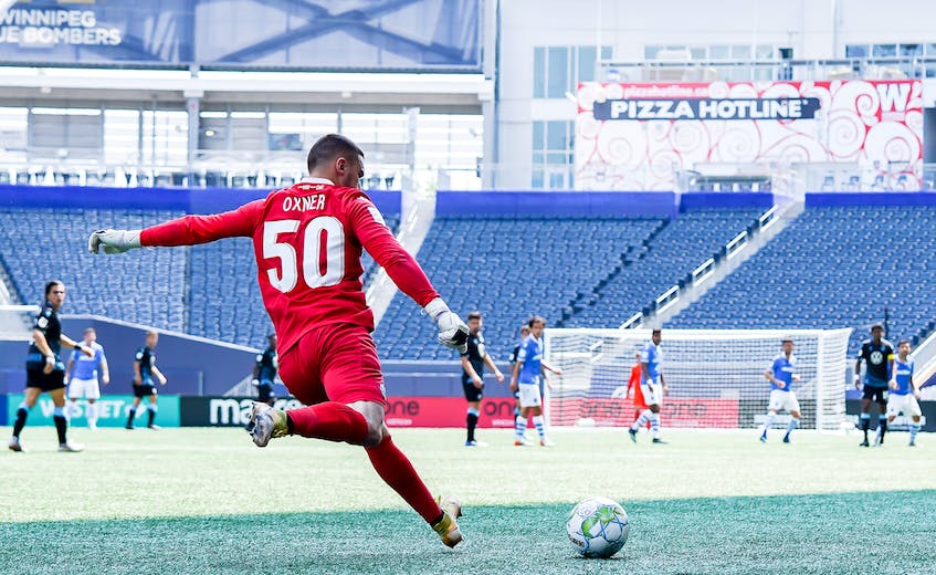 HFX Wanderers keeper Christian Oxner in action against the FC Edmonton on July 10. The Wanderers won the match 2-1 for their only win thus far in the Winnipeg bubble. - Canadian Premier League
