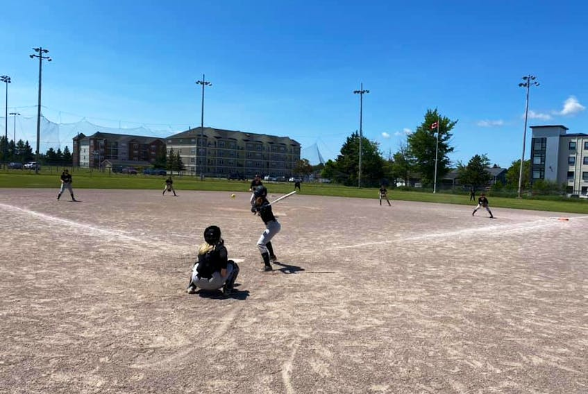 Batter Emma Storey awaits a pitch from Grace Bedour during a recent intra-squad game for the P.E.I. Under-14 Whitecaps. Also in the photo are Madisynne Gauthier, catcher, Hallie Chaisson, third base, Chloe Arsenault, shortstop, Leah MacLean, second bace, and Brooke McGuigan, first base. The Whitecaps are one of five teams competing in the Red Isle Realty Under-16 Atlantic Fastpitch Classic tournament in Richmond, July 23-25.