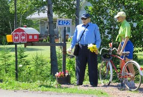Michele Lawlor sent this photo of mannequins of a postal carrier and a woman bicyclist on Route 6, Brackley Beach, P.E.I. She said tourists and Islanders look forward to seeing a new look every summer. It looks like the postal carrier is delivering some mail to the brightly painted mailbox near the driveway and preparing to put some flowers at the bottom of the post. The woman, standing by her bicycle, looks to be engaged in serious conversation.