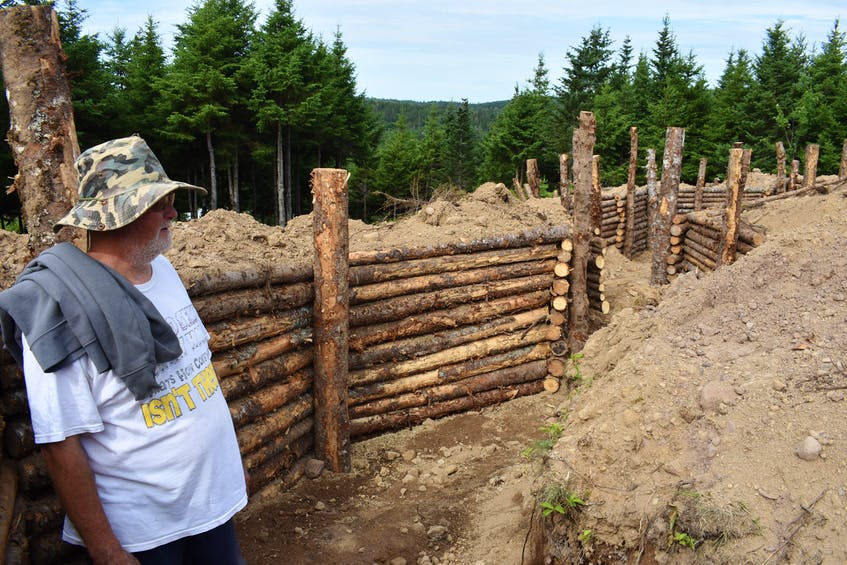 Construction of the bunkers that will surround a wooden castle that is in the works, are being built in a similar style to those from the First World War, and are constructed without the use of nails or screws.
