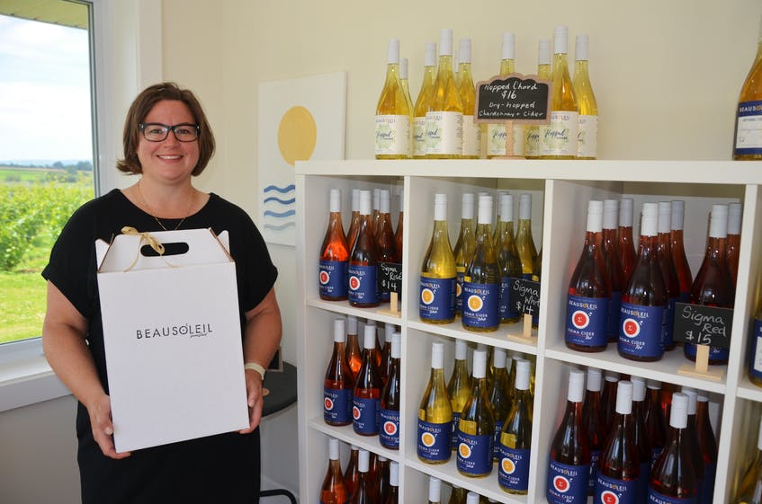 Owner Melanie Eelman stands inside the Beausoleil Farmstead boutique. They have developed a unique product line, including vinous ciders, which are blends of cider and wine. - Kirk Starratt