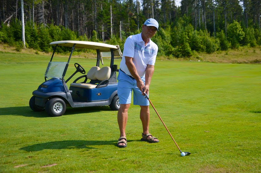 Martin Burke stands 295 yards away from the No. 18 hole pin at The Lakes Golf Club. It's the exact spot where the Sydney golfer carded a rare albatross – otherwise known as a double eagle – last month. JEREMY FRASER/CAPE BRETON POST